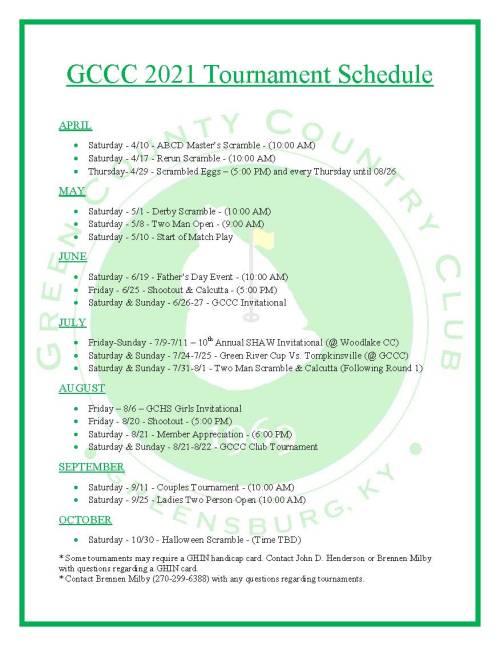 2021 GCCC Tournament Schedule